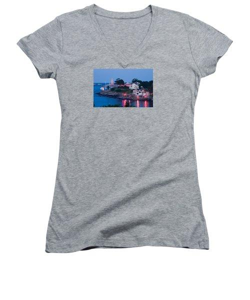 Marblehead Harbor Illumination Women's V-Neck T-Shirt (Junior Cut) by Jeff Folger