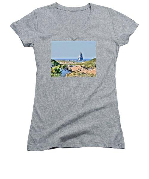 Harbor Of Refuge Lighthouse Women's V-Neck (Athletic Fit)