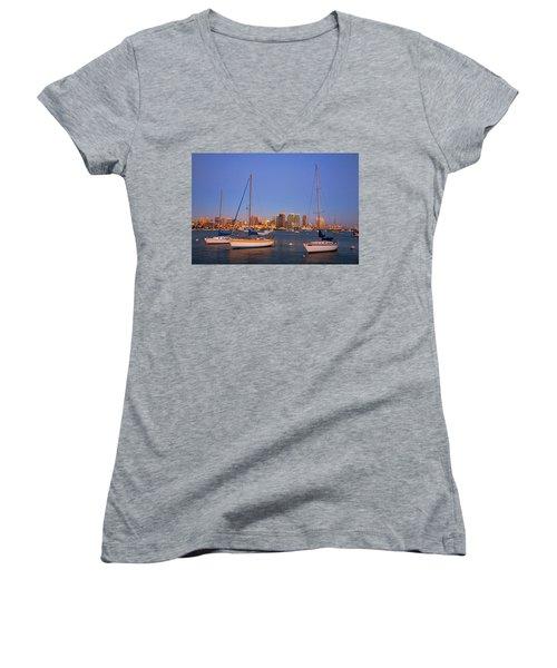 Harbor Sailboats Women's V-Neck