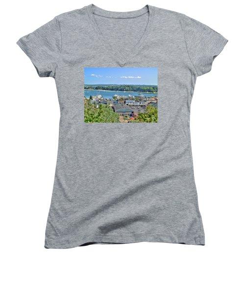Harbor Springs Michigan Women's V-Neck T-Shirt (Junior Cut) by Bill Gallagher