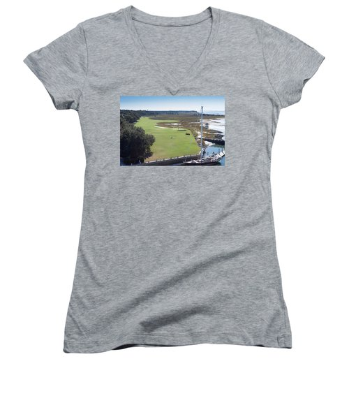 Harbourtown Golf Course 18th Hole Women's V-Neck (Athletic Fit)