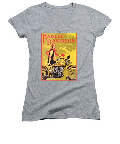 Women's V-Neck T-Shirt (Junior Cut) featuring the painting Harley Davidson 1927 Poster by Reproduction