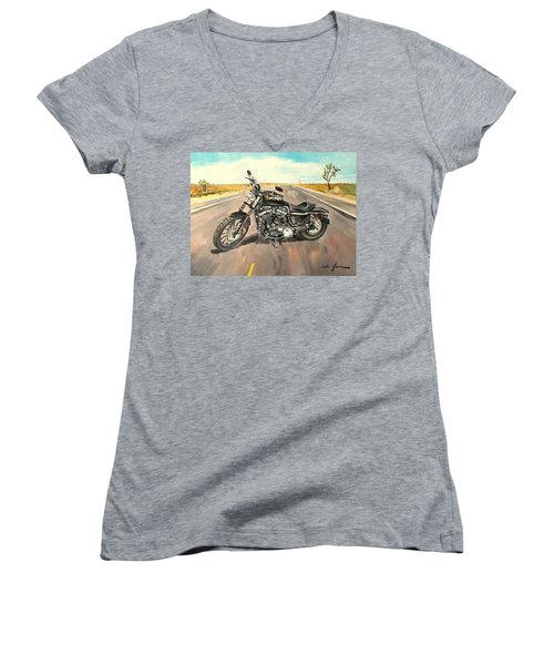 Harley Davidson 883 Sportster Women's V-Neck (Athletic Fit)