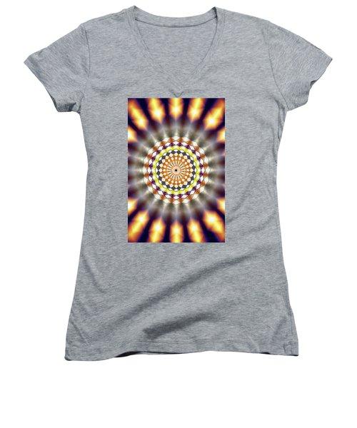 Women's V-Neck T-Shirt (Junior Cut) featuring the drawing Harmonic Sphere Of Energy by Derek Gedney