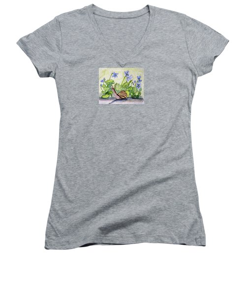 Harold In The Violets Women's V-Neck T-Shirt (Junior Cut) by Angela Davies