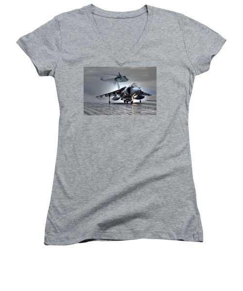 Harrier Gr9 Takes Off From Hms Ark Royal For The Very Last Time Women's V-Neck T-Shirt (Junior Cut) by Paul Fearn
