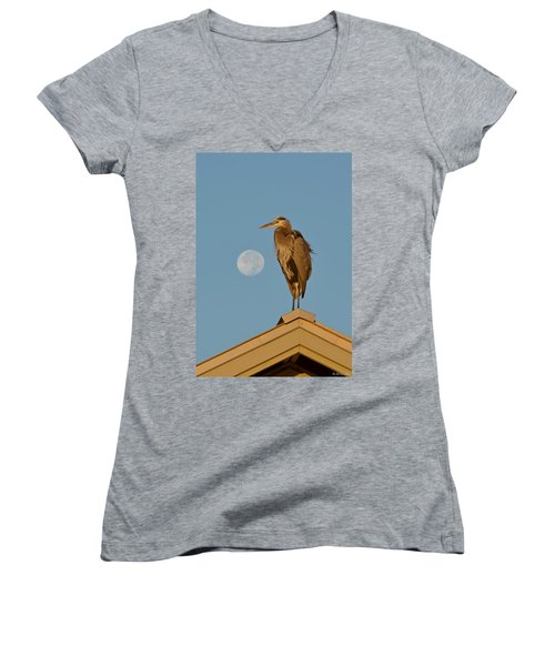 Women's V-Neck T-Shirt (Junior Cut) featuring the photograph Harry The Heron Ponders A Trip To The Full Moon by Jeff at JSJ Photography