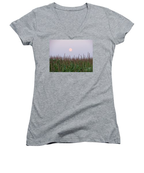 Harvest Moon Women's V-Neck T-Shirt (Junior Cut) by Michael Krek