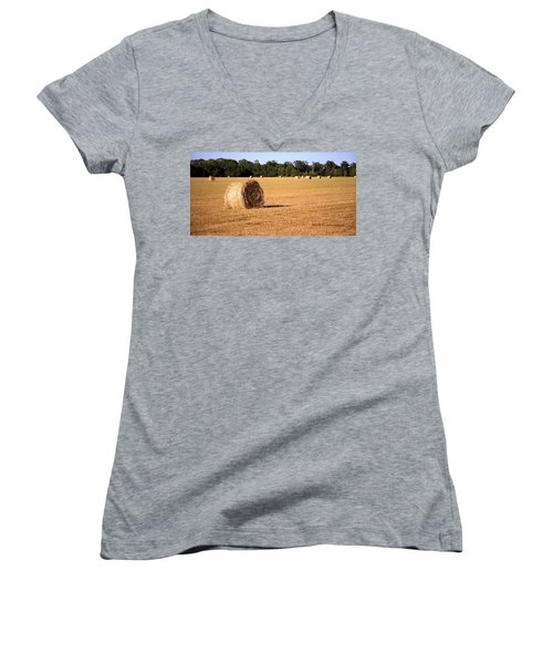Women's V-Neck T-Shirt (Junior Cut) featuring the photograph Harvest Time by Gordon Elwell