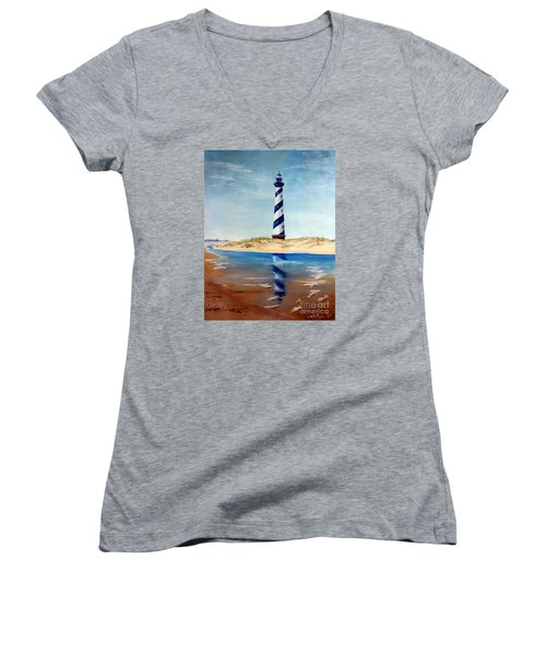Women's V-Neck T-Shirt (Junior Cut) featuring the painting Hatteras Lighthouse by Lee Piper