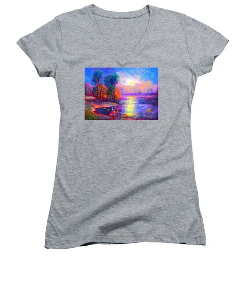 Women's V-Neck T-Shirt (Junior Cut) featuring the painting Haunting Star by Jane Small