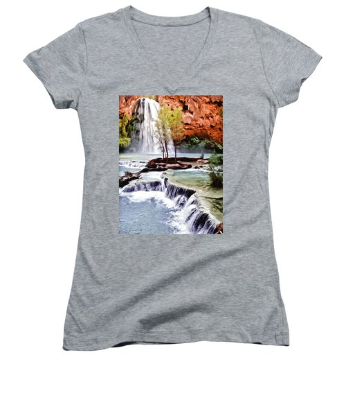 Havasau Falls Painting Women's V-Neck (Athletic Fit)