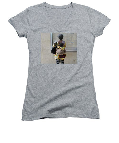 Women's V-Neck T-Shirt (Junior Cut) featuring the photograph Have Baby Will Travel by Natalie Ortiz
