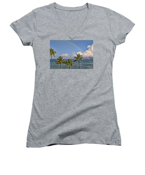 Women's V-Neck T-Shirt (Junior Cut) featuring the photograph Hawaii Rainbow by Peggy Collins