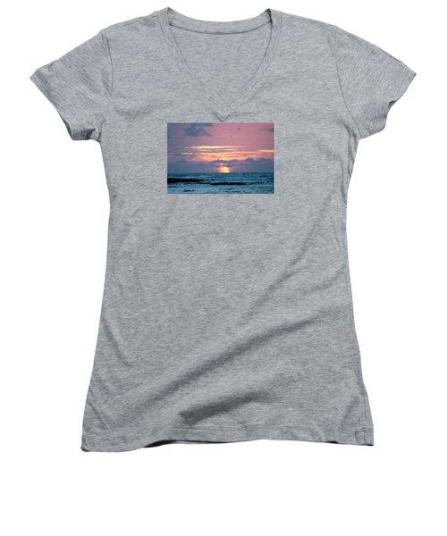 Hawaiian Ocean Sunrise Women's V-Neck T-Shirt (Junior Cut) by Lehua Pekelo-Stearns