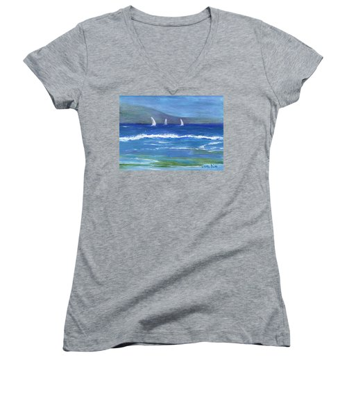 Women's V-Neck T-Shirt (Junior Cut) featuring the painting Hawaiian Sail by Jamie Frier