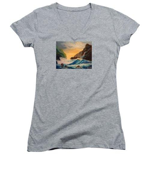 Hawaiian Turquoise Sunset   Copyright Women's V-Neck T-Shirt
