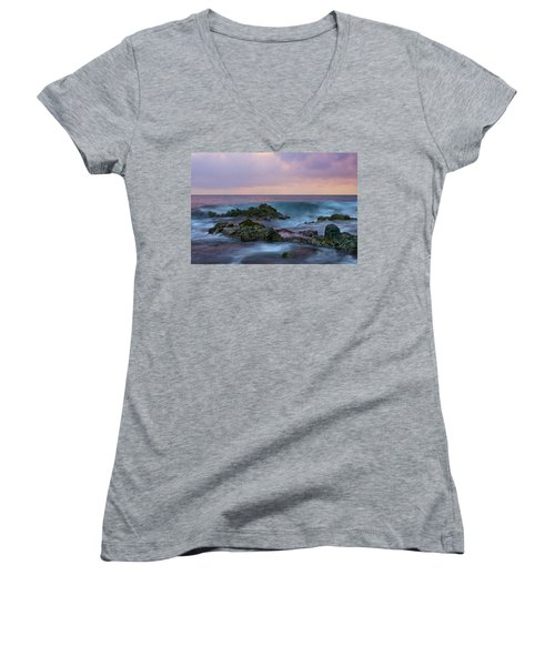 Hawaiian Waves At Sunset Women's V-Neck