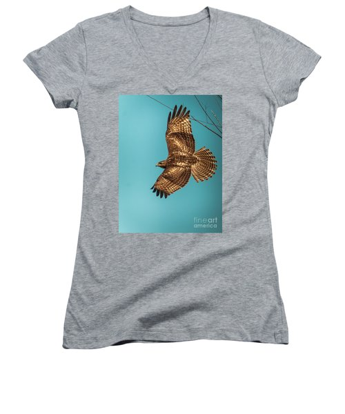 Hawk In Flight Women's V-Neck (Athletic Fit)