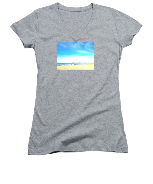 Women's V-Neck T-Shirt (Junior Cut) featuring the photograph Hb Pier 7 by Margie Amberge