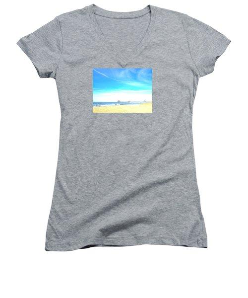 Hb Pier 7 Women's V-Neck T-Shirt (Junior Cut) by Margie Amberge