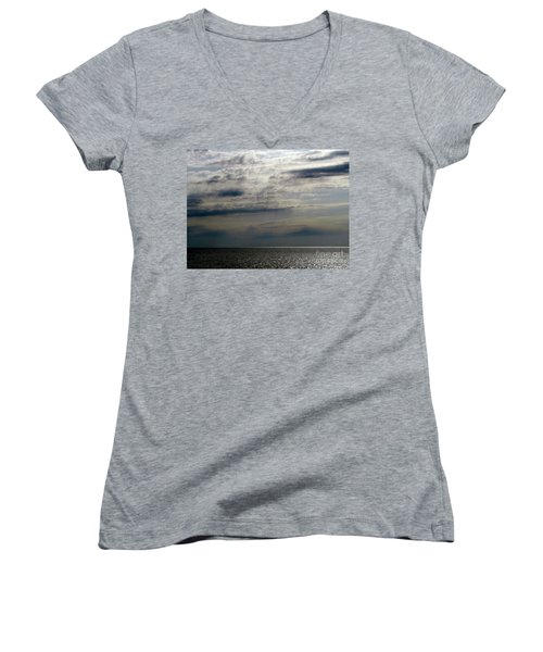Hdr Storm Over The Water  Women's V-Neck T-Shirt (Junior Cut) by Joseph Baril