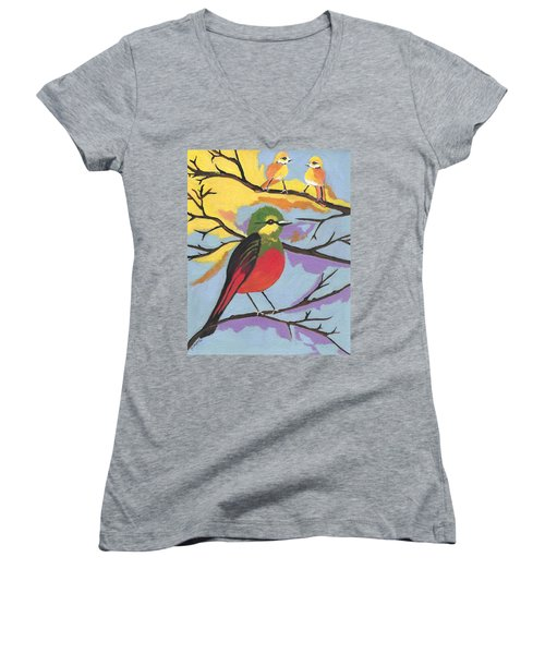 Women's V-Neck T-Shirt (Junior Cut) featuring the painting He Aint That Tweet by Kathleen Sartoris