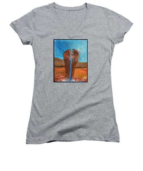 He Is The Rock  Women's V-Neck T-Shirt (Junior Cut) by Cassie Sears