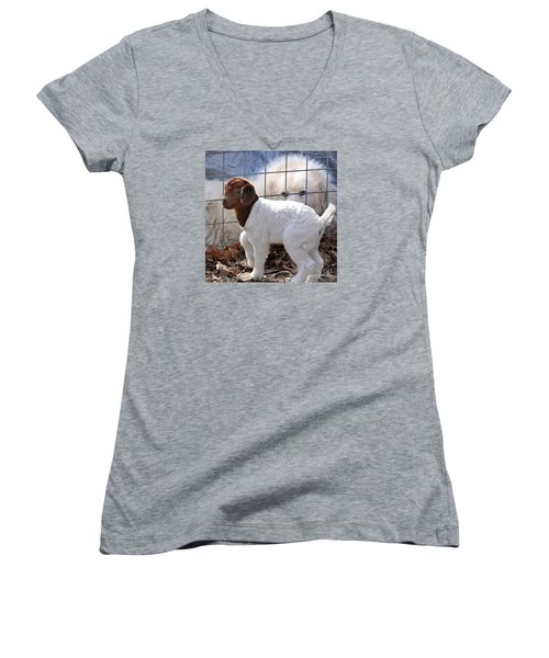He Watches Over Me Women's V-Neck T-Shirt (Junior Cut) by Nava Thompson