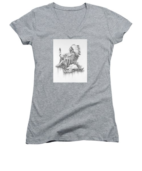 He Who Seeks A Vision Women's V-Neck T-Shirt (Junior Cut) by Kim Lockman