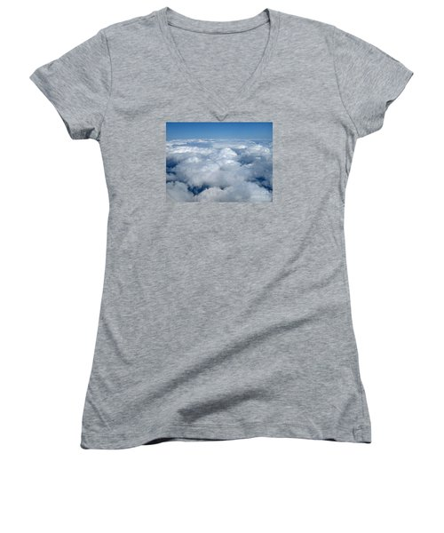 Head In The Clouds Art Prints Women's V-Neck T-Shirt (Junior Cut) by Valerie Garner