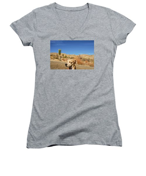 Women's V-Neck T-Shirt (Junior Cut) featuring the photograph Headache by Angela J Wright