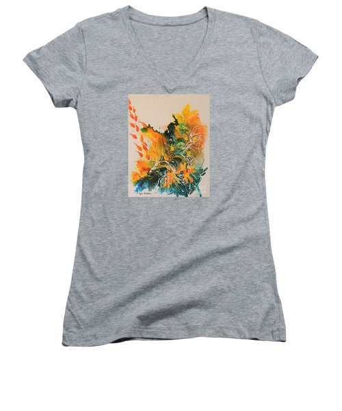 Women's V-Neck T-Shirt (Junior Cut) featuring the painting Heading Down #2 by Lyn Olsen