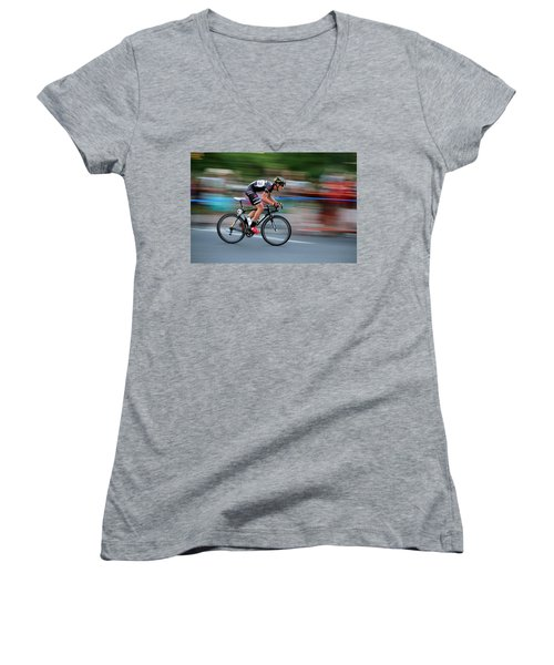 Women's V-Neck T-Shirt (Junior Cut) featuring the photograph Heading For The Finish Line by Kevin Desrosiers