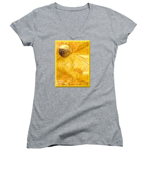 Healing In Golden World Women's V-Neck T-Shirt (Junior Cut) by Ray Tapajna