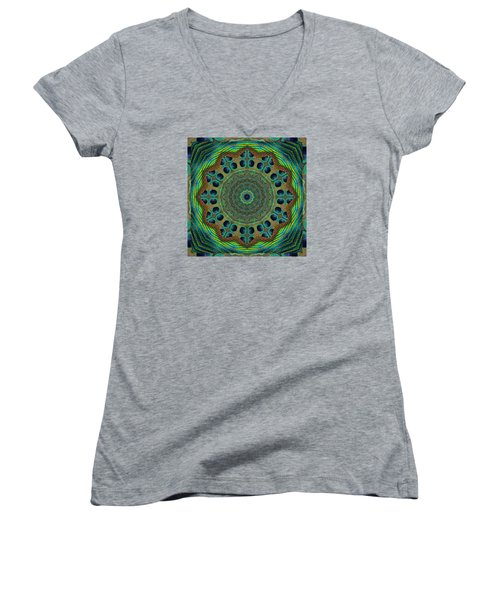 Women's V-Neck T-Shirt (Junior Cut) featuring the photograph Healing Mandala 19 by Bell And Todd