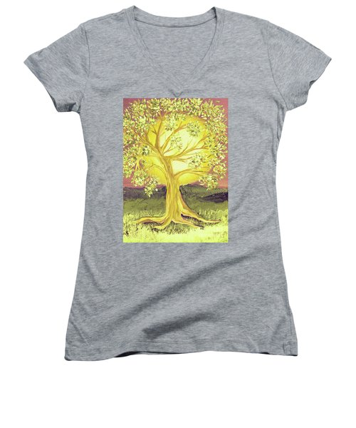 Heart Of Gold Tree By Jrr Women's V-Neck (Athletic Fit)