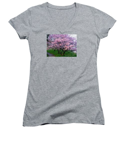 Women's V-Neck T-Shirt (Junior Cut) featuring the painting Heartfelt Cherry Blossoms by Bruce Nutting