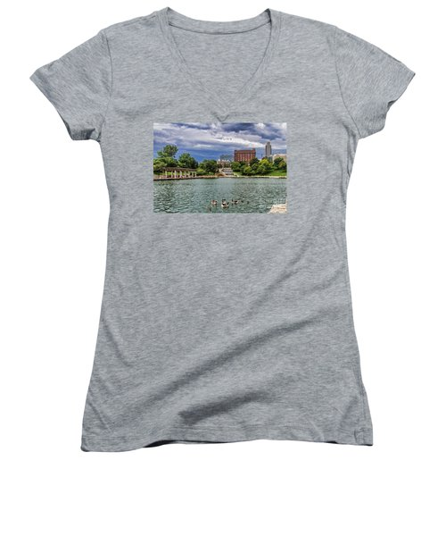 Heartland Of America Park Women's V-Neck T-Shirt (Junior Cut) by Elizabeth Winter