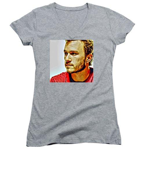 Heath Ledger Portrait Women's V-Neck T-Shirt (Junior Cut) by Florian Rodarte