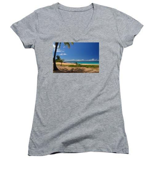 Heavenly Haena Beach Women's V-Neck T-Shirt (Junior Cut) by Marie Hicks