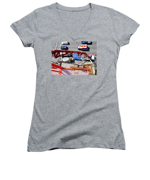 Heavy Lifting Pumper Women's V-Neck T-Shirt (Junior Cut) by Steve Sahm