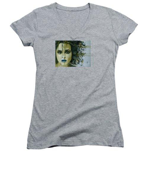 Helena Bonham Carter Women's V-Neck T-Shirt (Junior Cut) by Paul Lovering