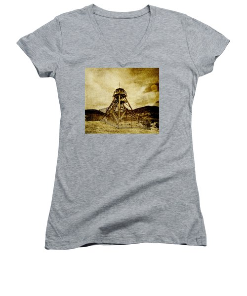 Helena-montana-fire Tower Women's V-Neck (Athletic Fit)