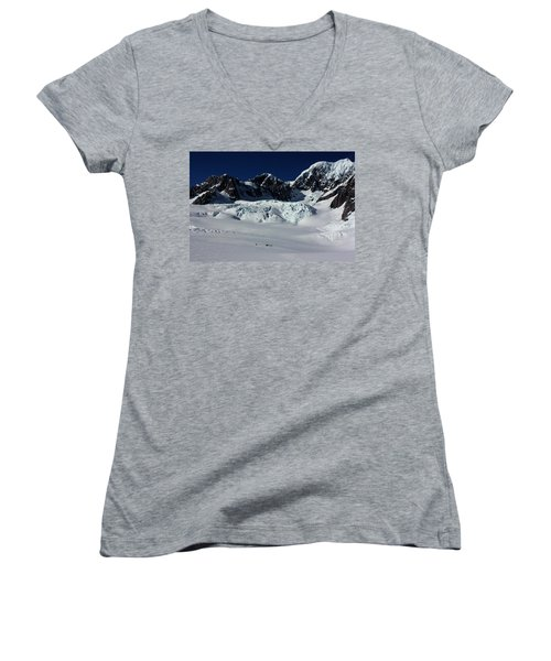 Women's V-Neck T-Shirt (Junior Cut) featuring the photograph Helicopter New Zealand  by Amanda Stadther
