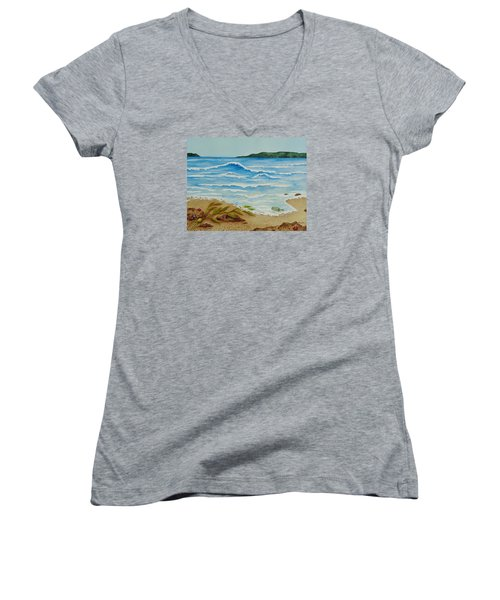 Women's V-Neck T-Shirt (Junior Cut) featuring the painting Hello? by Katherine Young-Beck