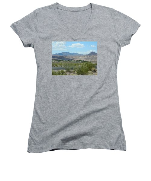 Women's V-Neck T-Shirt (Junior Cut) featuring the photograph Henderson Nevada Desert by Emmy Marie Vickers