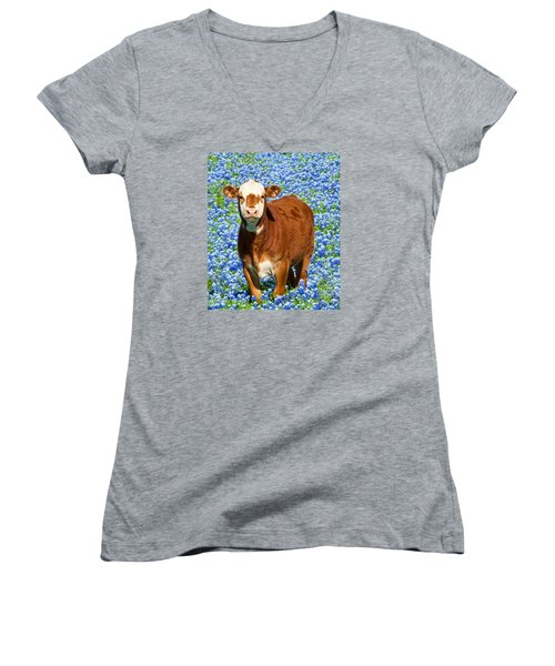 Heres Looking At You Kid - Calf With Bluebonnets In Texas Women's V-Neck T-Shirt (Junior Cut) by David Perry Lawrence