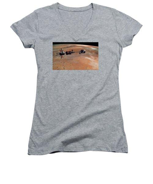 Hermes1 Orbiting Mars Women's V-Neck T-Shirt (Junior Cut) by David Robinson