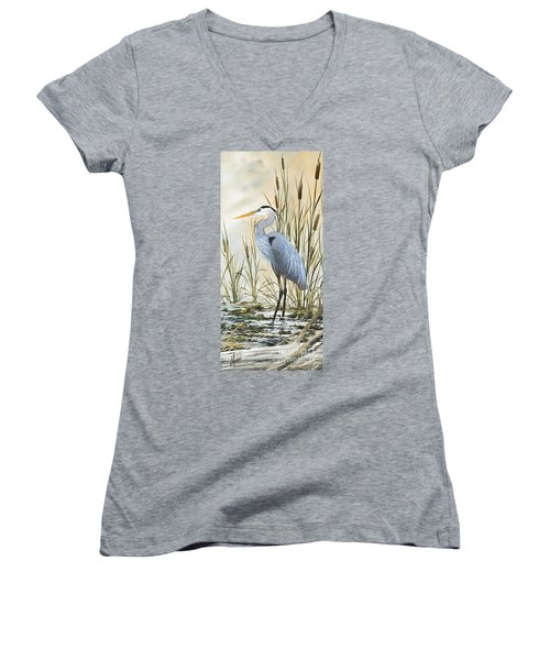 Heron And Cattails Women's V-Neck T-Shirt (Junior Cut) by James Williamson